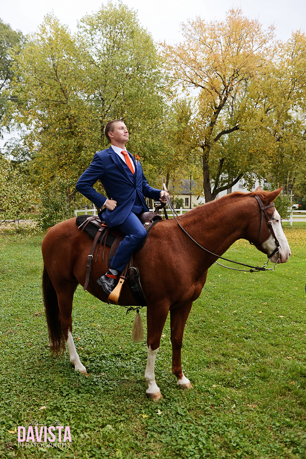 groom on a horse on his wedding day