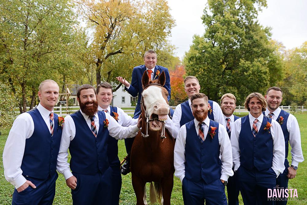 groomsmen and horse