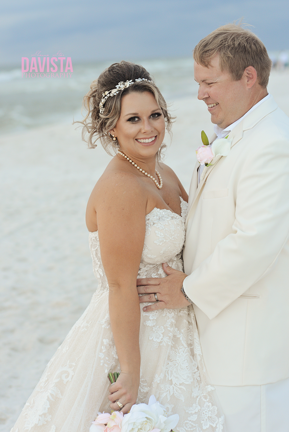 beautiful bride and groom portraits on the beach