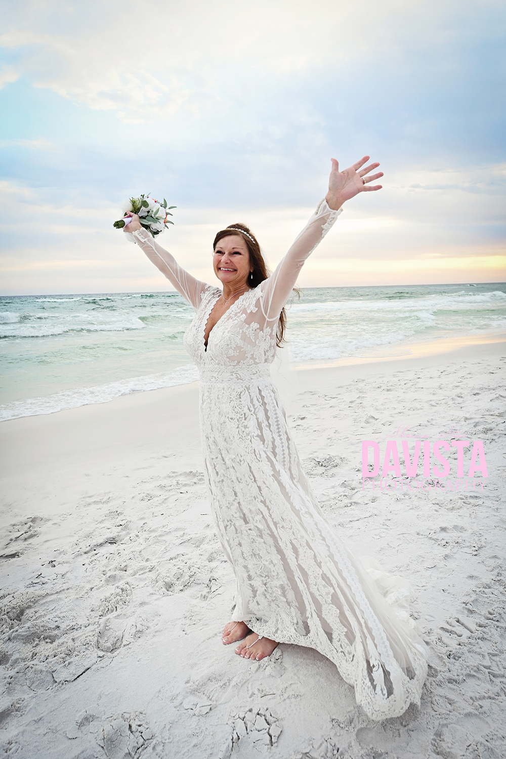happy bride on the beach