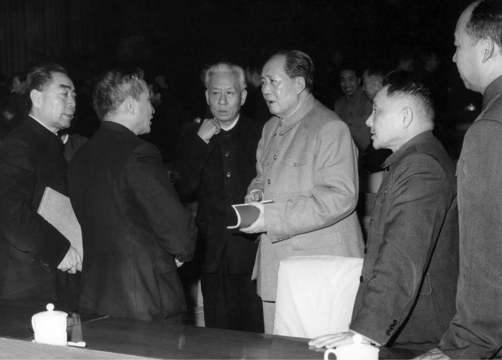 Top leaders of the Communist Party of China, from left: Zhou Enlai, Chen Yun, Liu Shaoqi, Mao Zedong, Deng Xiaoping, and Peng Zhen, chat during a meeting of the Central Committee of the CPC in Beijing in 1962
