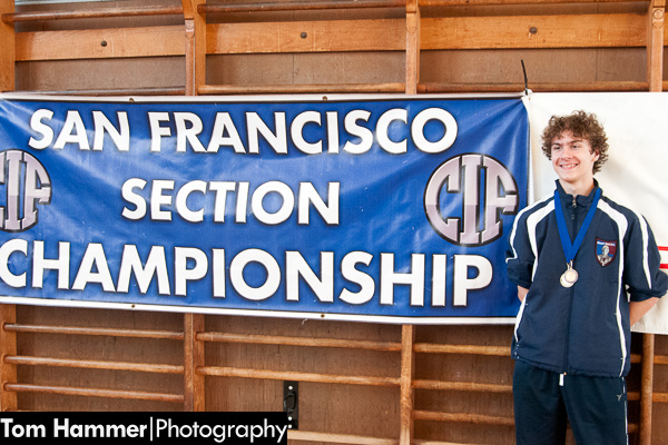 Zack Hammer after winning the gold medal at the San Francisco All-City CIF and League Fencing Championships. Our lil freshman: the champion 2013 Varsity fencer in SF.