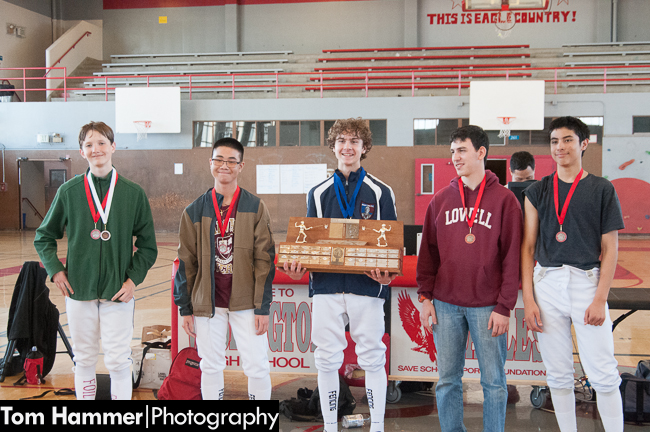 Zack and the other Varsity Men's medalists. From L-R: Matthew Glover, Urban High School(3rd); James Wen, Lowell High School (4th)Zack Hammer, Stuart Hall High School (1st); Ofri Harlev, Lowell High School (5th); Rafael Musni, Wallenberg High School (2nd).