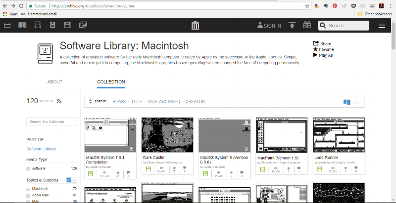 The Internet Archive has finally posted a library of early Macintosh software! Thank you Internet Archive! Thanks to the Internet Archive's Macintosh Software Library, you can check out Dark Castle, Lode Runner and even important stuff like HyperCard! How cool is this?! Most of the cool Mac software I had the privilege to work on was this lovely built for a 1-bit, 9 inch display and won't run on modern Macintoshes, let alone a PC of Unix/Linux box.  But, thanks to the  Macintosh Software Library, if you've got a browser and TCP/IP connectivity (the Internet), you can play Dark Castle to your heart's content. Excuse me... I have some, ahem, work to do...