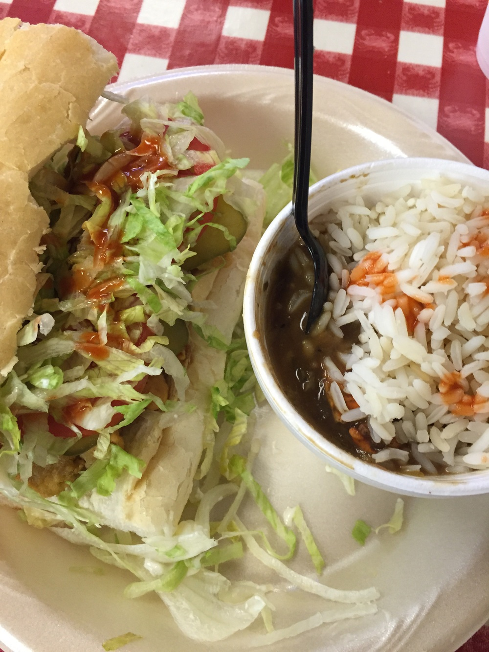 Crawfish po'boy and seafood gumbo.