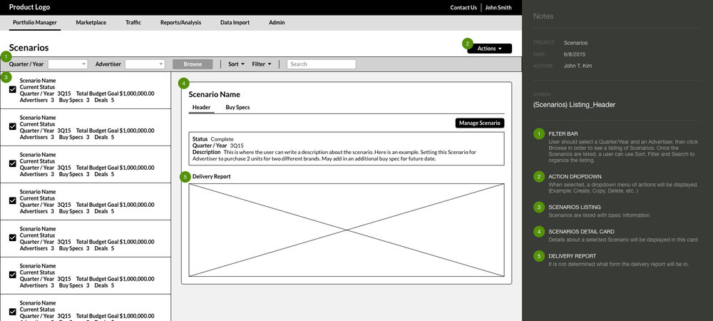 Wireframe with Annotation for  Media Buying Platform