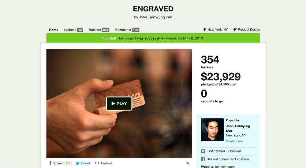 A screenshot of the Kickstarter Campaign page