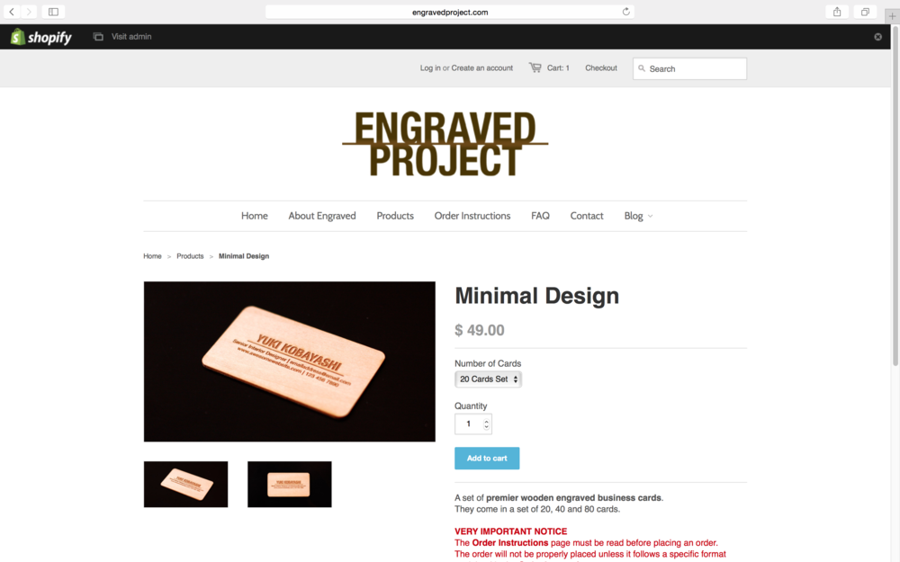 A screenshot of the online store Engraved Project