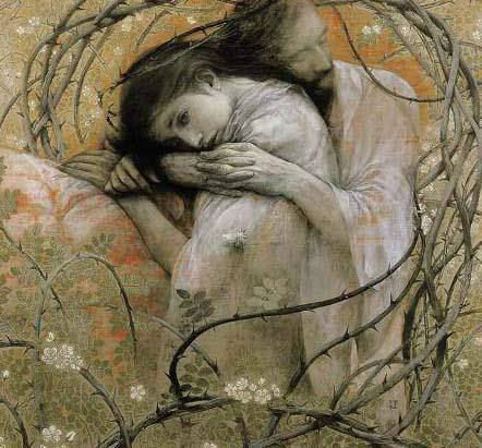 Painting by Toshiyuki Enoki: Jesus and Mary on their last day together pre-Crucifixion.