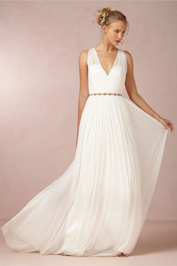 This Ruth Gown is simple and relaxed and is a great opportunity for a glitzy belt and accessories.