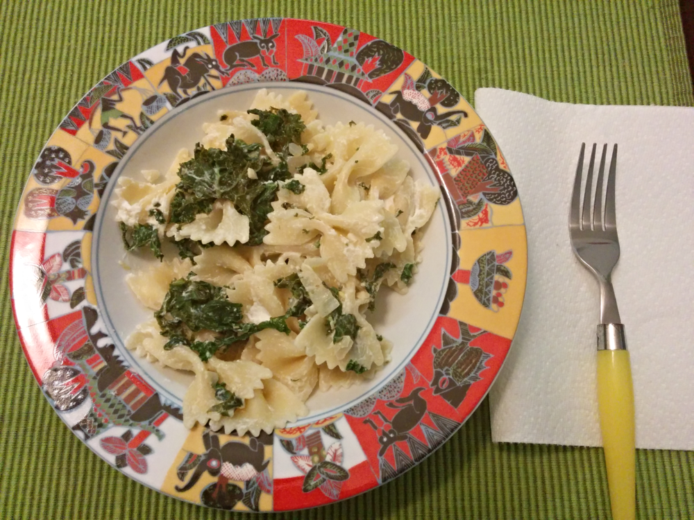 Recipe: http://www.twopeasandtheirpod.com/goat-cheese-lemon-pasta-with-kale/