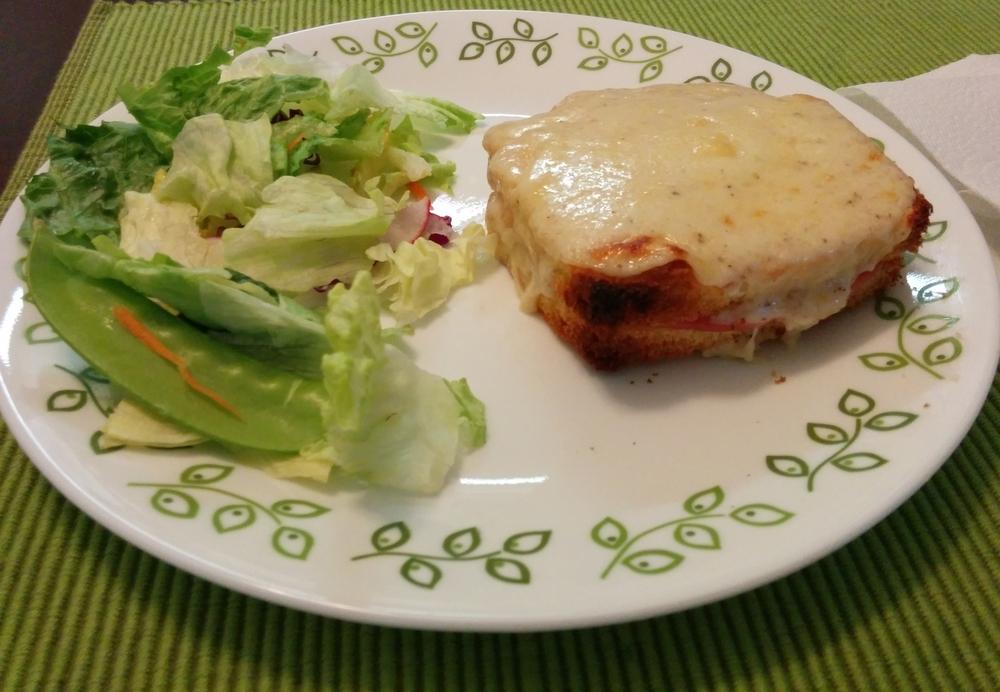 Recipe:http://www.foodnetwork.com/recipes/ina-garten/croque-monsieur-recipe.html