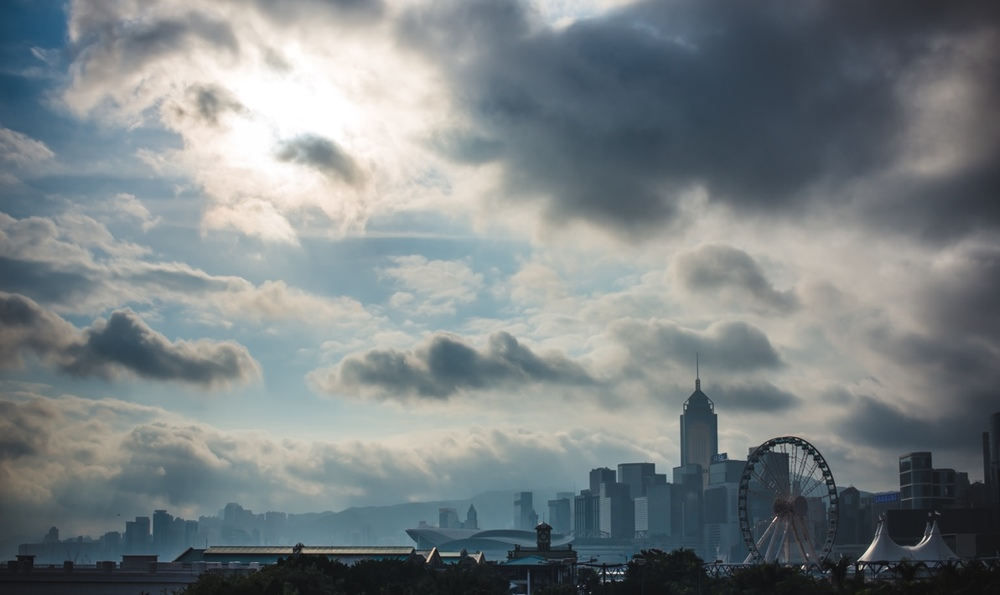 Awesome morning cloudscape and skyline in Hong kong island.