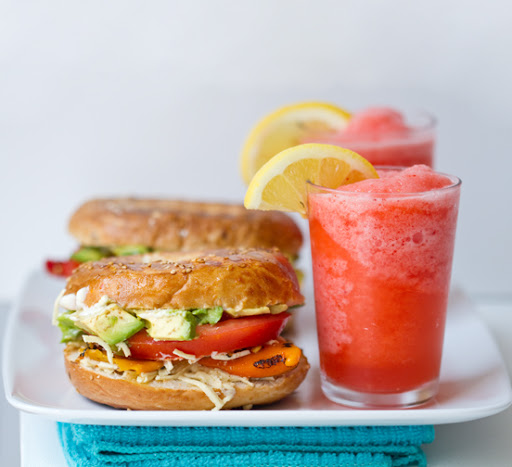 foodopia: avocado, peppers, and cheese bagel-wich with strawberry lemonade: recipe here