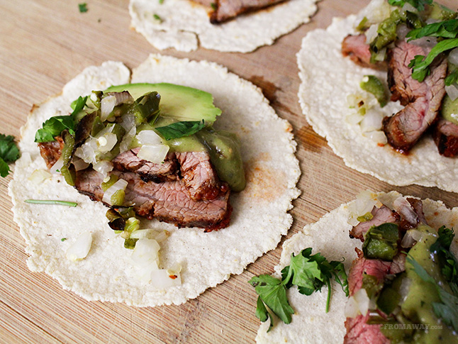 foodopia: chipotle flank steak tacos with salsa verde: recipe here