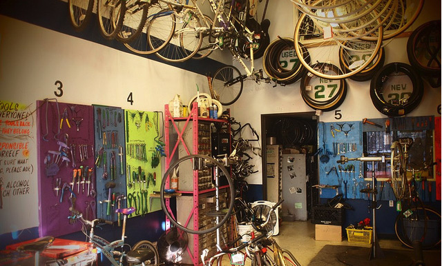 The Bicycle Kitchen is a nonprofit bicycle repair educational organization, group of volunteers who run a space in Los Angeles filled with tools and stands for working on bicycles.
