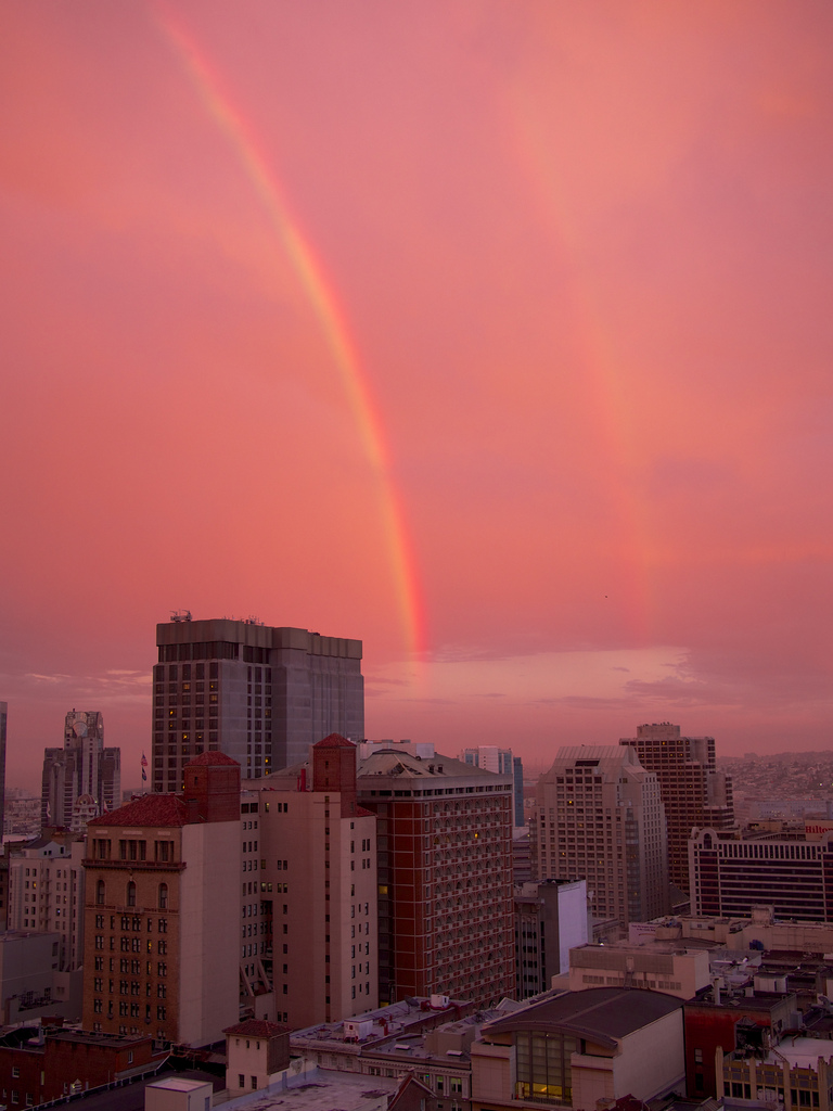 photojojo: San Francisco residents were treated with something rare a couple of nights ago: a double rainbow framed by a pretty gorgeous sunset! Check out a roundup of photos that Laughing Squid put together below. San Francisco Graced With Sunset and Pair of Rainbows Photo by Kelp, via Laughing Squid