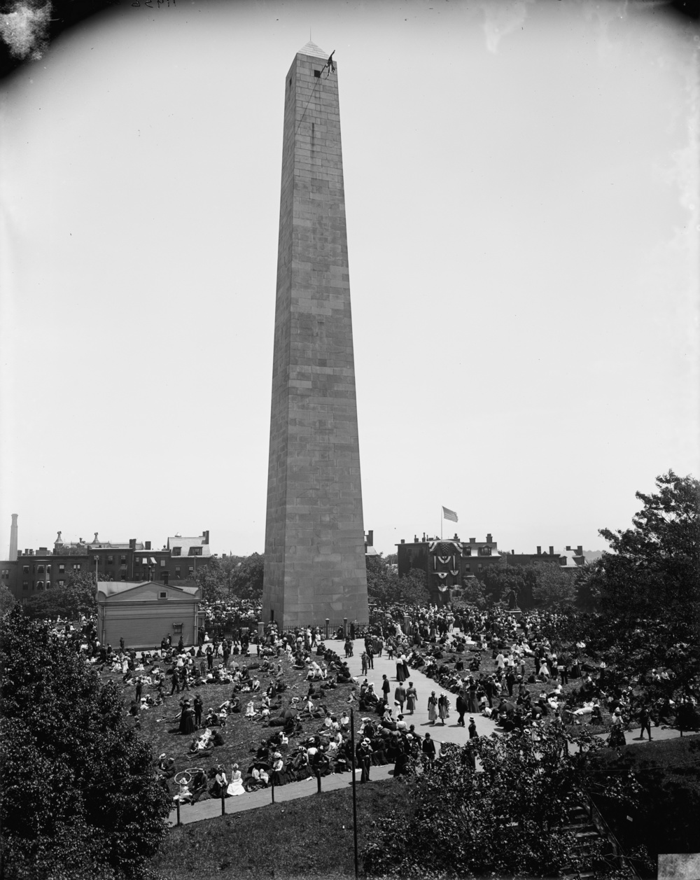 The Bunker Hill Monument during the Bunker Hill Day celebrations in Charlestown, Mass. sometime between 1890 and 1901. Image from  Wikimedia .