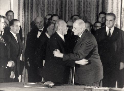 Adenauer and de Gaulle -- an inconceivable embrace.