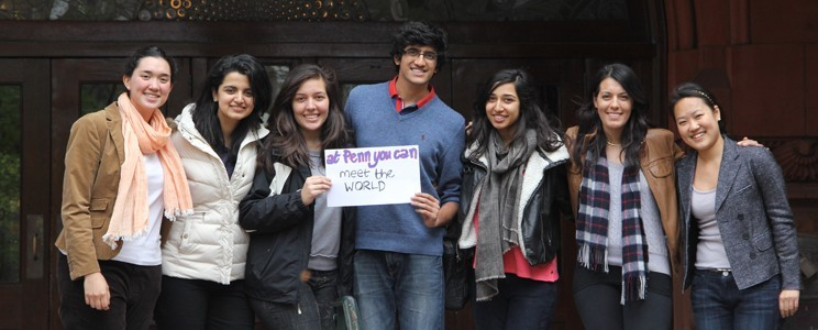 A group of international students at Penn -- from those smiles, it looks like they settled in quickly!
