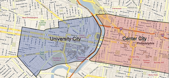 University City, just to the west of Philadelphia's Center City area.