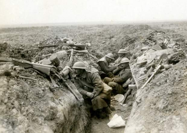 Canadian troops waiting for the signal to advance to their near-certain death.
