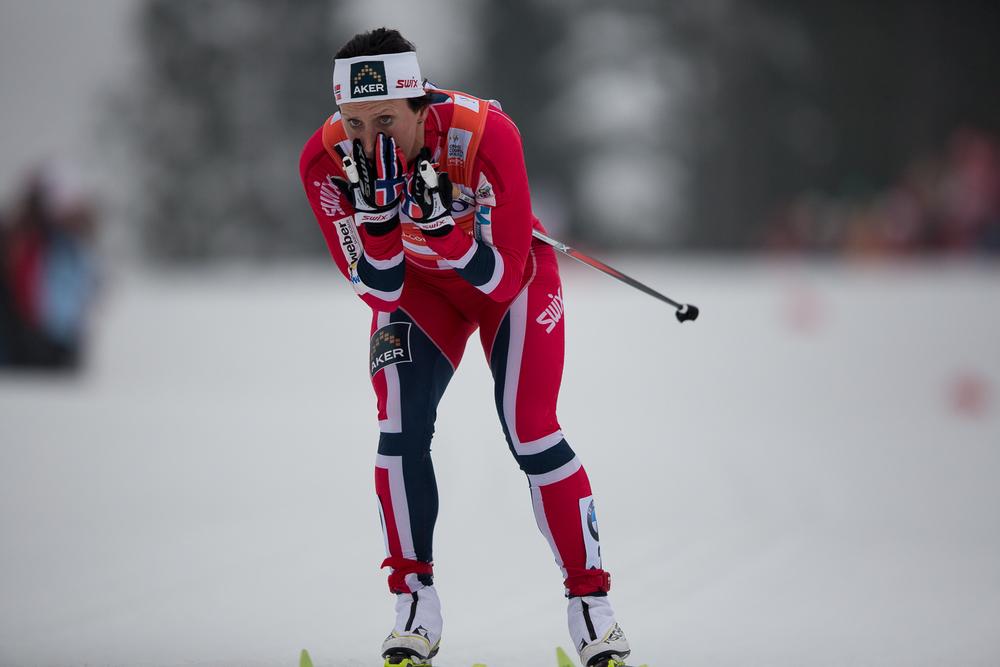 Marit Bjørgen heads into the stadium.