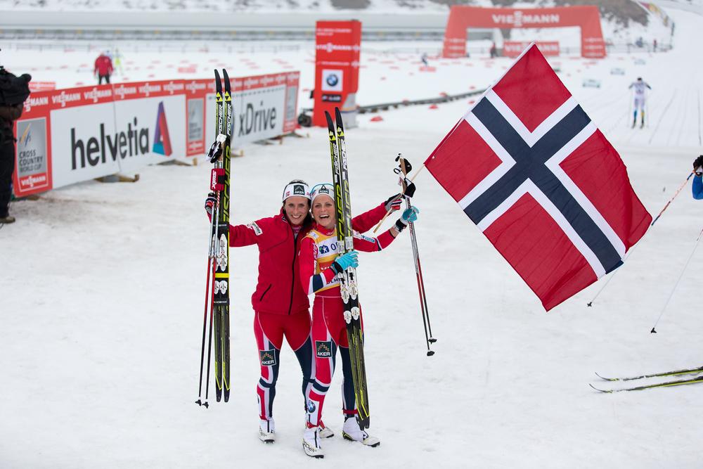 The victorious Norwegians: Bjørgen and Johaug