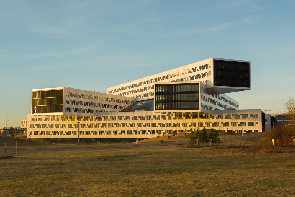 Statoil's building during the golden hour not long after dawn. Fornbu, Norway, March 11, 2014