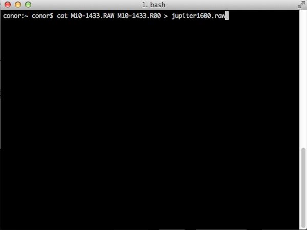 The UNIX command run in a MAC OSX Terminal Window