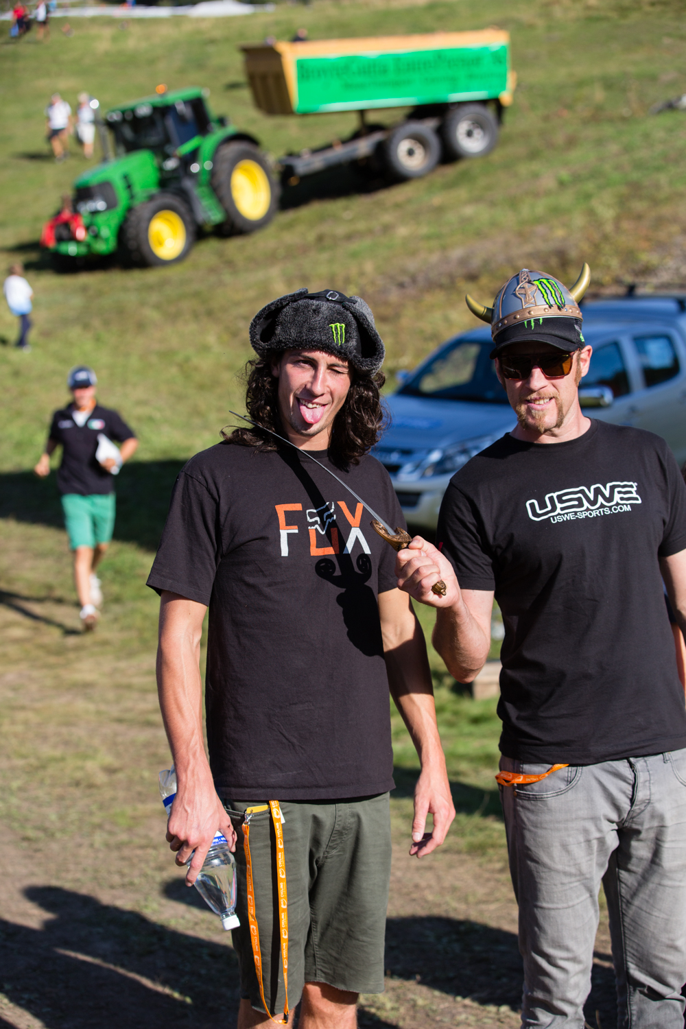 Josh Bryceland (L) and Steve Peat (R). Both World Cup Downhill winners and Steve, a World Champion.