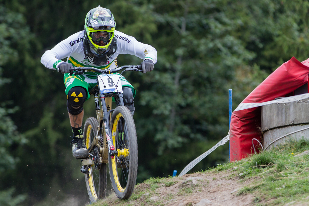 Sam Hill emerging from the forest after his crash.