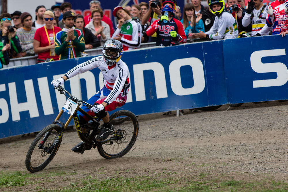 2014 World Champion, Gee Atherton at the finish