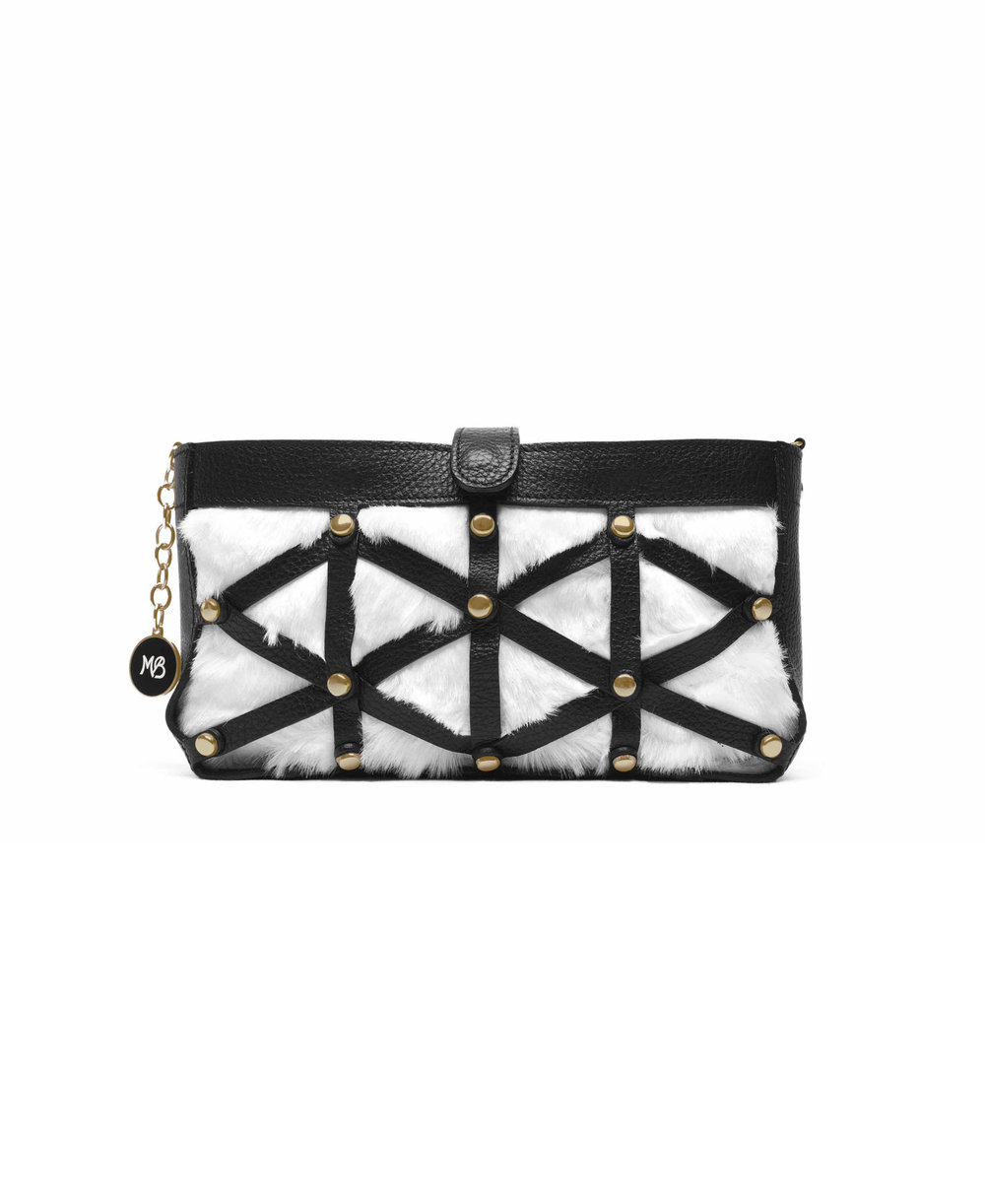 Be Fuller Clutch - White eco fur