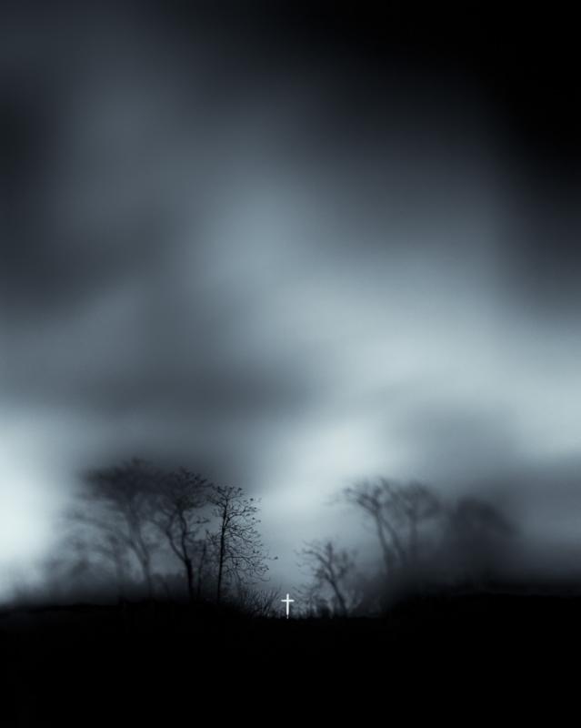 "Cross, Black and White at Night series, 16"" x 20"" Inkjet on Platinum paper,2012."
