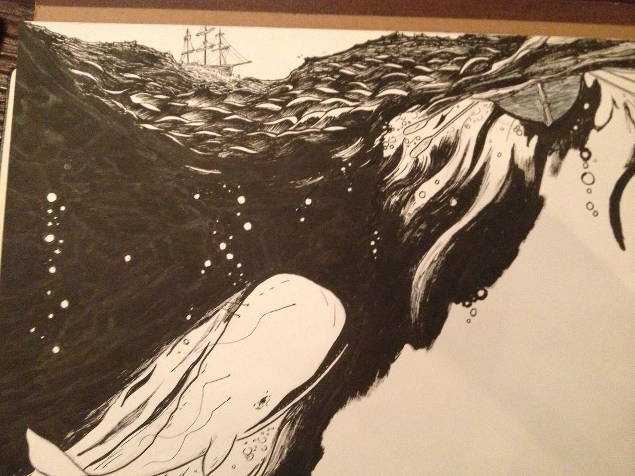 In progress view of a Moby Dick drawing I'm doing for someone. I'll upload the scanned one in a bit.