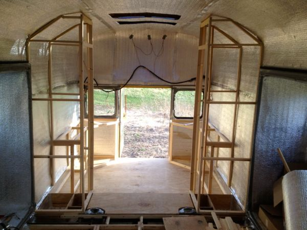 Rear closets and cabinets framed. The plan will be to have the doors of the closets open up and meet in the middle like French doors so you can close off the back room from the rest of the bus while recording or sleeping.