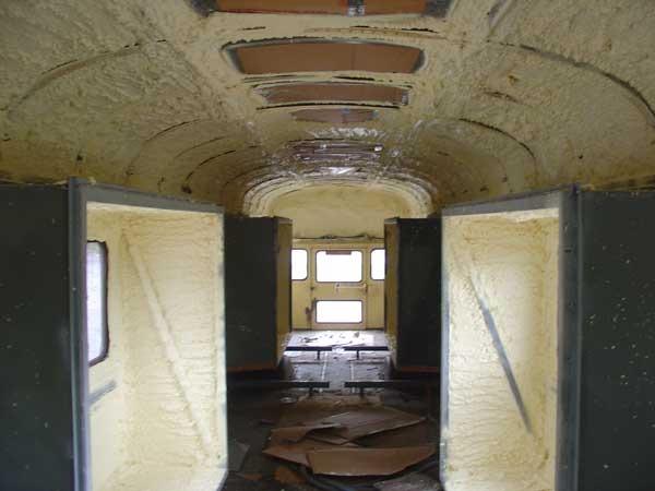 Spray foam applied front looking back