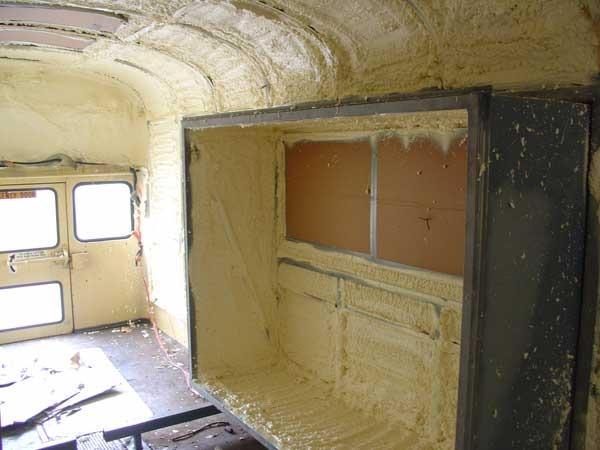 Spray Foam In Rear Slide With Window Masked Off