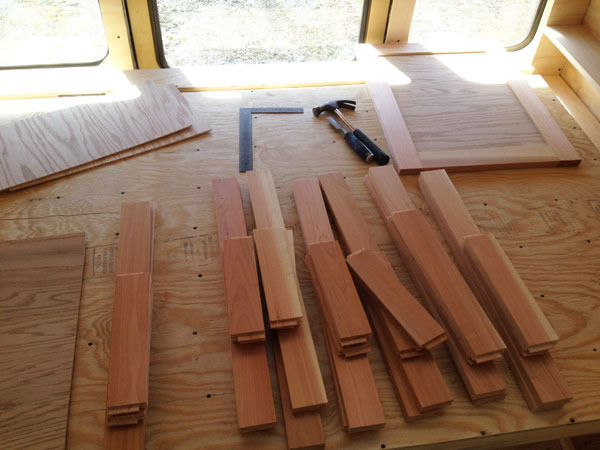 Raw materials for the cabinetry doors. The frames are cedar and the inside panel made from the same oak as the upper sliding cabinet doors.