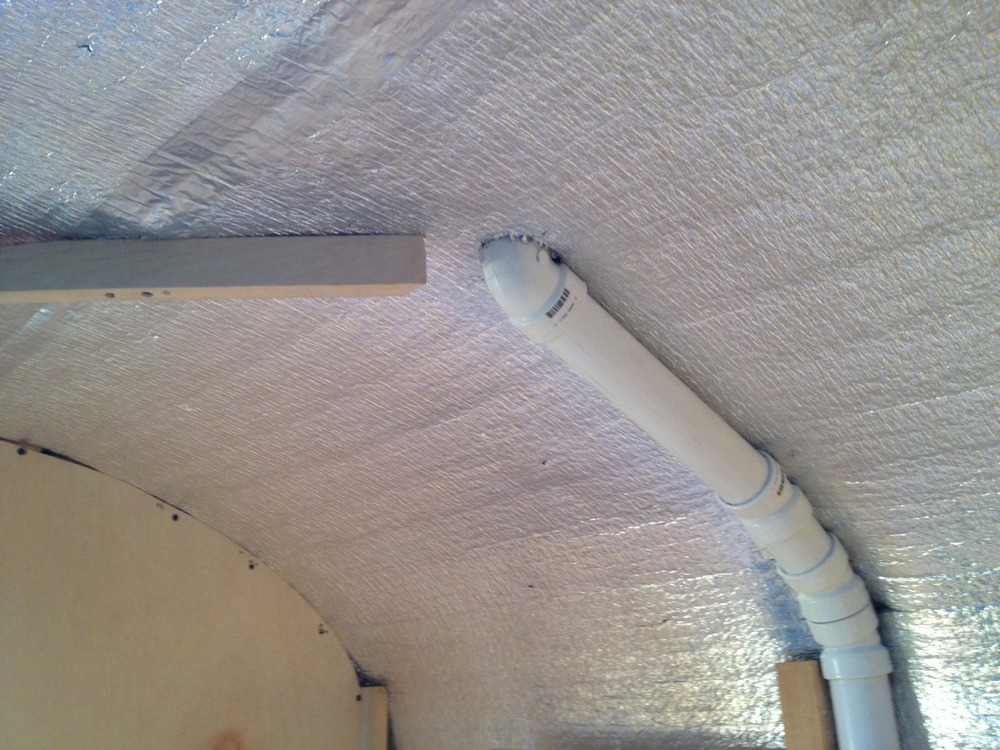 A look at the air vent pipe running up through the roof.