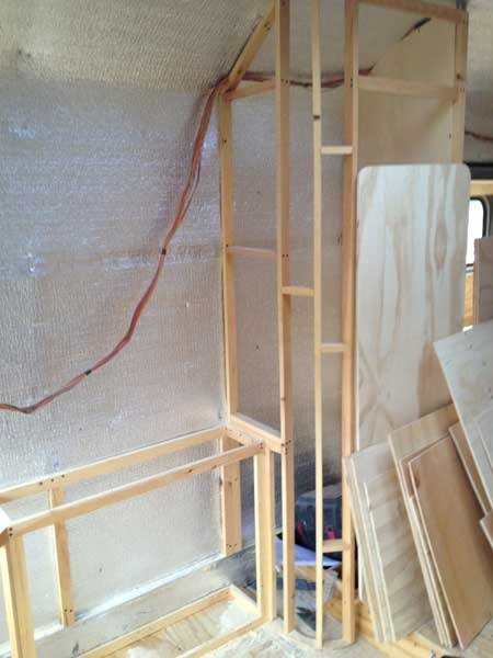 Framing for the cabinets and one of the closets in the studio/bedroom area.