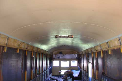 """A look inside at the extensions that were welded in to add 18"""" to the window posts."""