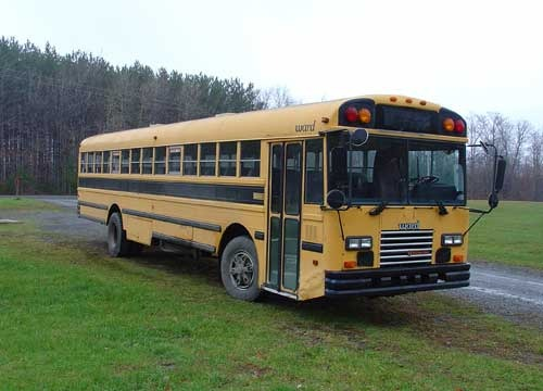 This is a shot of the bus taken right after I brought it back to New York from Kentucky. It's a 38 foot long International manufactured by Ward in 1992.