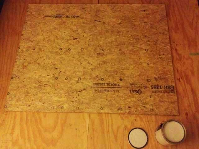 """For the floor in the kitchen area, I started with a piece of 3/4"""" thick plywood that measures about 4'x5'..."""