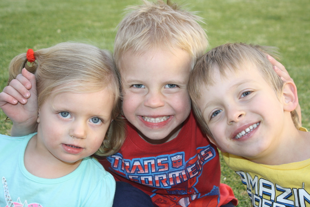 From the left: Maya Morgan (2), Evan Froud (5), Lorenzo Morgan (4)