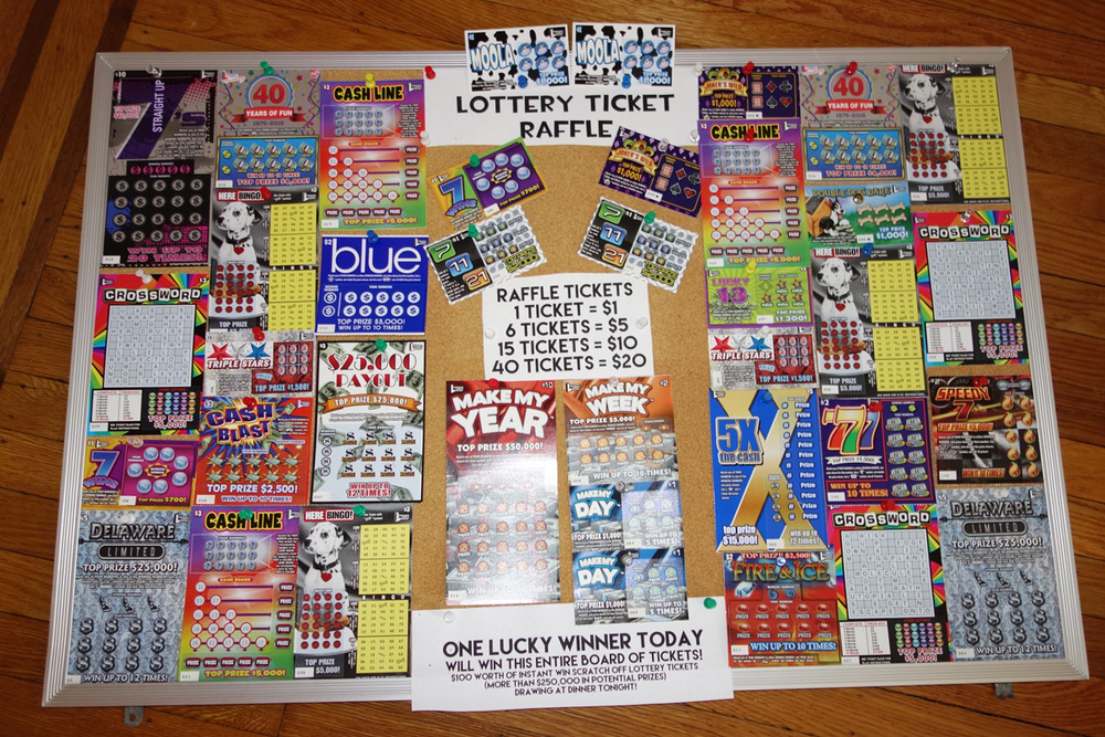 Selling raffle tickets to win a bunch of lottery tickets in lieu of a 50/50 raffle may be an easy way for your organization to raise money at a fundraising event. The tickets were thumbtacked to a 18x24 corkboard but any board for display will do.