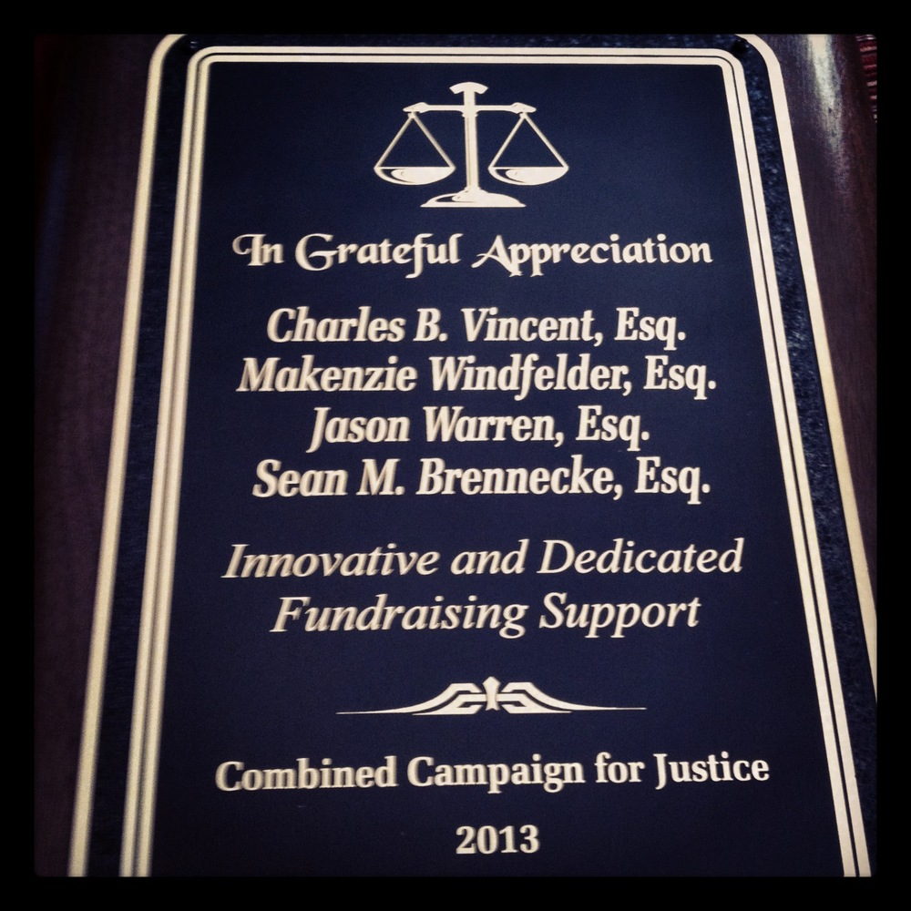 Innovincent's Charles Vincent was recognized for Innovative and Dedicated Fundraising Support from the Combined Campaign for Justice in February 2014 .