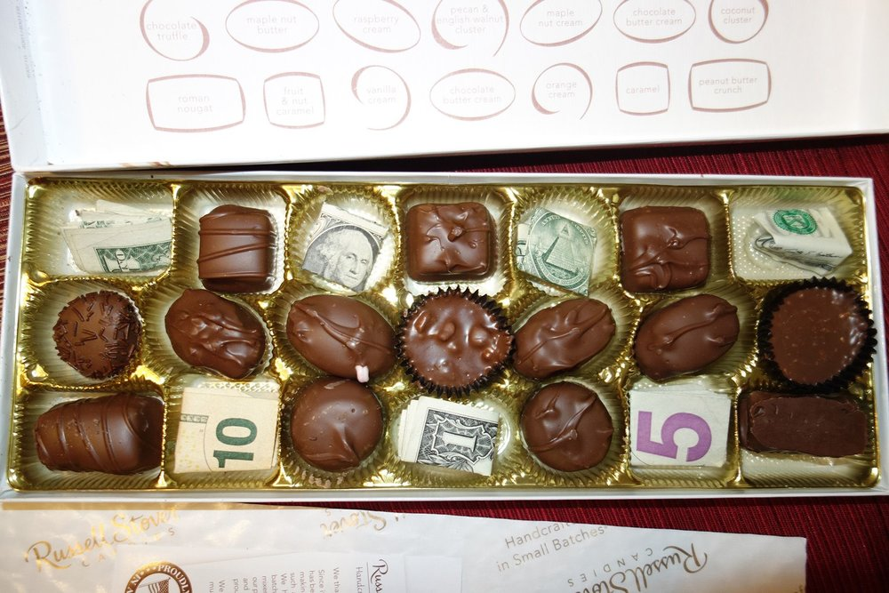What fun white elephant gifts have you given or gotten? : money in candy box - Aboutintivar.Com