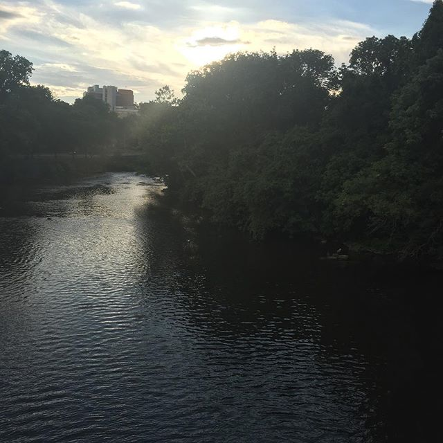 Brandywine River at dusk (with a crane toward the lower right).